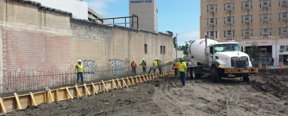 """Contractors Begin Pouring Concrete for New Downtown High Rise"""