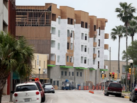 View from the street of construction underway