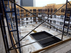 View of the pool under construction